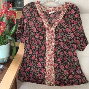 Sheer black and red floral blouse